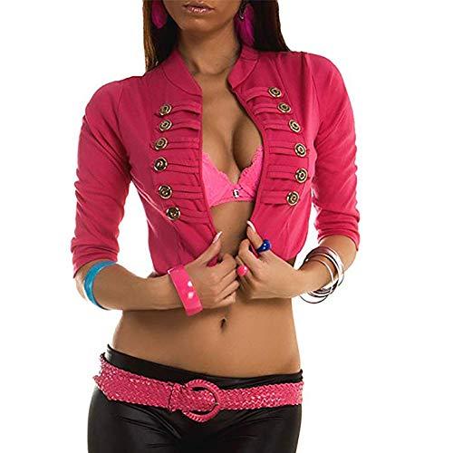 Damen Military Jäckchen/Blazer / Bolero Military Style/Kurz Blazer in 2 Verschiedenen Längen, Größe:M/L - 36/38, Farbe:Kurz/Pink