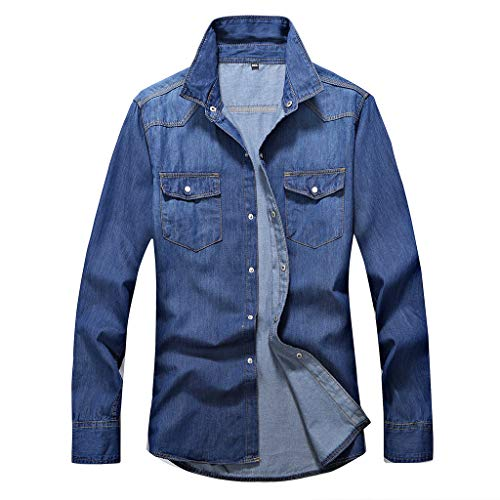 LOLIANNI Herren Herbst Winter Jacke Mantel Herren Jean Casual Vintage Wash Distressed Denim Top Trend Fashion Bluse -