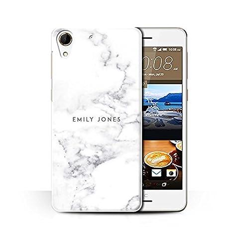 Personnalisé Marbre Personnalisé Coque pour HTC Desire 728 / Cachet Blanc Perle Design / Initiales/Nom/Texte Etui/Housse/Case