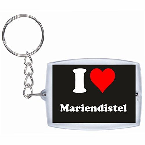 Druckerlebnis24 Schlüsselanhänger I Love Mariendistel in Schwarz, eine tolle Geschenkidee die von Herzen kommt| Geschenktipp: Weihnachten Jahrestag Geburtstag Lieblingsmensch