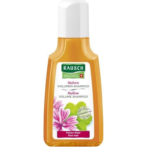 Rausch Malven Volumen-Shampoo (spezielle sanfte Pflege für feines Haar, ohne Silikone und Parabene - Vegan - Reisegrösse), 4er Pack (4 x 40 ml)