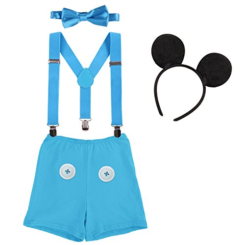 IBTOM CASTLE Neugeborenen Kleinkind Baby 1./2./3. Geburtstag Mickey Mouse Halloween Kostüm Outfit Hosen+Fliege+Clip-on Hosenträger+Maus Ohren 4pcs Bekleidungssets Foto-Shooting 0012 Blau 12-18 Monate
