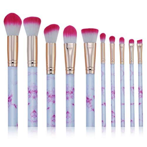 Cdet. 10Pcs Kit De Pinceau Maquillage en Visage et Oeil avec Cosmétiques Brush Ensemble Fondation Mélange Blush Yeux Poudre Brosse Make Up Série de marbre de Grain Rose Rouge