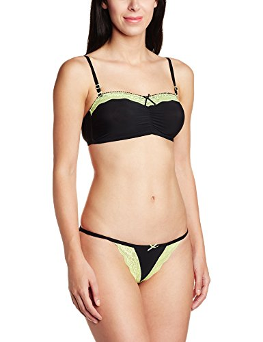Little Lacy Women's Lingerie Set (Black and Neon_Green_34B)  available at amazon for Rs.131