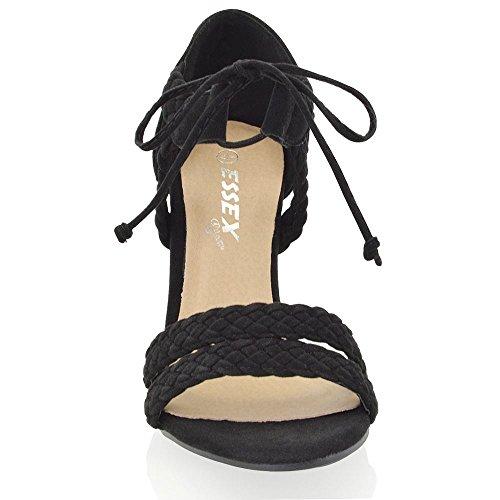 ESSEX GLAM Damen schnitten ferse Woven Sandalen im Gladiatorstil zum Schnüren Zehenfrei Schwarz Wildlederimitat ezjpCBB
