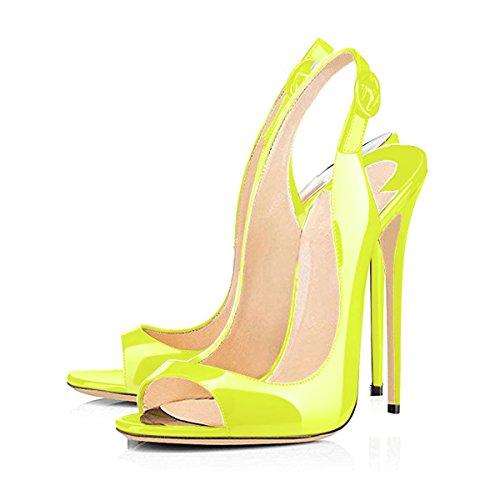 Onlymaker Damen Sandalen High Heels Slingback Stiletto Peep Toe Pumps Glitzer Party Gelb