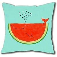 higearshop dormir sandía ballena manta decorativa fundas de almohada de 18x 18pulgadas