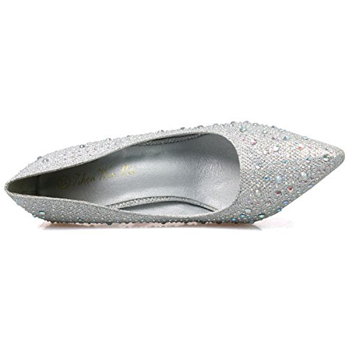 Oasap Women's Pointed Toe Rhinestone Slip-on Stiletto Pumps Silver