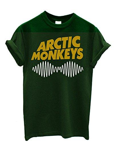 """T-shirt Homme """"Arctic Monkeys"""" - T-shirt indie rock bicolor 100% coton LaMAGLIERIA, S, Vert Bouteille"""
