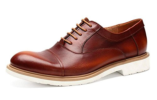 SHIXR Männer Lace-Up Flats Oxford England Retro Schuhe Business Casual Schuhe Leder High Quality Lace Schuhe Rot Schwarz Khaki Red