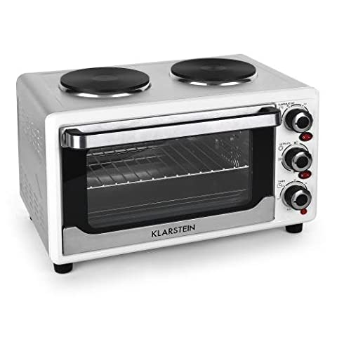 Klarstein Omnichef 23HW Mini Oven Multifunctional with Hot Plates 2 Hobs Convection & Rotisserie Function Versatile Mini Grill Easy-to-Clean (1500W, 23L, 3-Bays & 4 Heating Elements) White