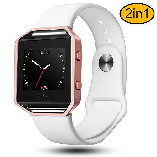 Fotover Armband Kompatibel mit Fitbit Blaze weichem Silikon Sport Handgelenk Ersatzband Uhrenarmband mit Metallrahmen Damen Herren