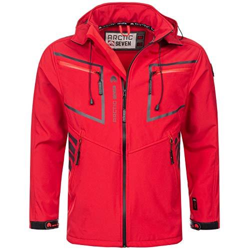 Arctic Seven Herren Designer Softshell Funktions Outdoor Regen Jacke Sport AS088 [AS-088-Rot-Gr.5XL]