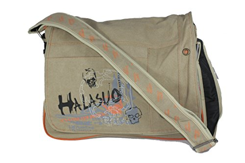 Designer Canvas borsa Messenger Laptop tasche imotx3, Olive - beige