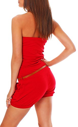 malito Damen Einteiler kurz in Unifarben | Overall mit Gürtel |schicker Jumpsuit | Romper �?Playsuit �?Hosenanzug 8964 Rot