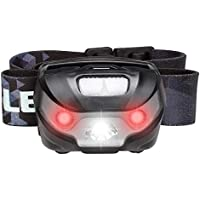 LE USB Rechargeable LED Head Torch, Waterproof Lightweight Headlamp with Red Warning Lights, 5 Modes Headlight for Cycling Running Camping Hiking Fishing and More