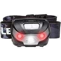 LE Luce LED da testa o casco, Ricaricabile Regolabile Cavo USB 5 Modalità Fissa Flash rosso Impermeabile IPX4 per Speleologia, Jogging, Trekking, Corsa, Escursioni, Pesca, Elettricista, Meccanico