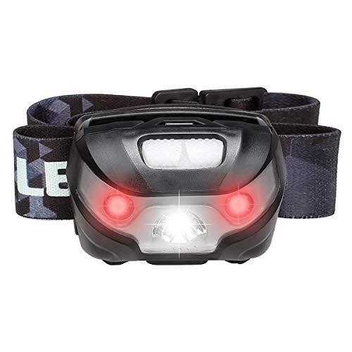 LE USB Wiederaufladbar Stirnlampe, LED Kopflampe mit 5 Lichtmodi Scheinwerfer und Rotlicht, IPX4 spritzwassergeschütztes Gehäuse, Ideal für Camping Joggen, USB Kabel inclusive