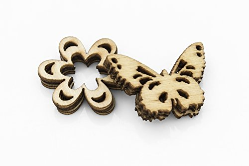 Wooden Craft 45 Flowers and Butterflies Embellishment MDF Shapes, 5 Pieces of Each 9 Shapes, Shape Size Approx 2.5 cm, Laser Cut, Perfect for Scrapbook Decoration, Personalised Cards DIY Woodcraft