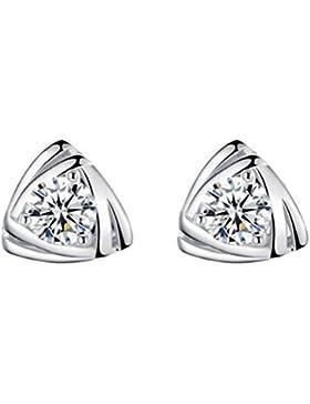 18K Unisex Damen Mode Schmuck Dreieck Zirkonia Ohrringe Ohrstecker aus 925 Sterling Silber für Mädchen Damen Kinder...