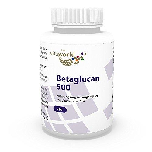 Vita World Betaglucan 500mg (75% Polysaccharide) 90 Kapseln Apotheken Herstellung Beta Glucan (1/3,1/6)-Beta-D-Glucan Komplex -