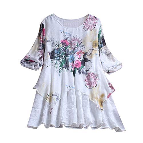MRULIC Damen Fledermaus Hemd Lässig locker Top Dünnschnitt Bluse T-Shirt(T-Weiß,EU-50/CN-5XL) - Lauren Langen Ärmeln Baumwolle