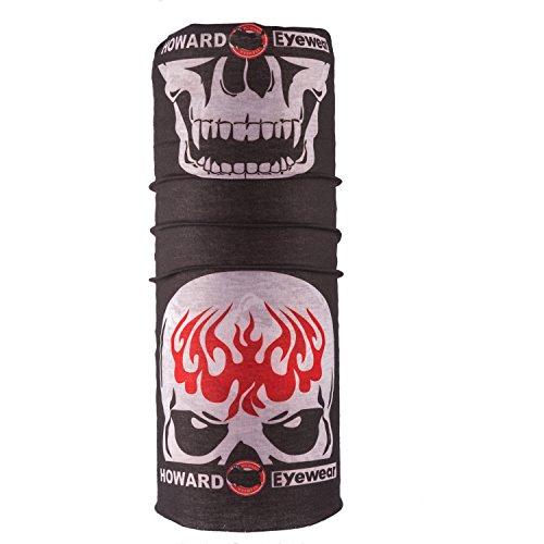 Autofy Unisex Black Half Skull Print Anti Pollution Arm Sleeve Gear Head Gear Headwrap Bandana Buff Tubana Riding Gear Sweat Abosorber for Men Women Boys Girls for Bikes (Freesize)