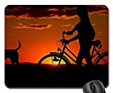 Mauspads - Frau Mädchen Fahrrad Sonnenuntergang Spaziergang Abendstimmung Hund