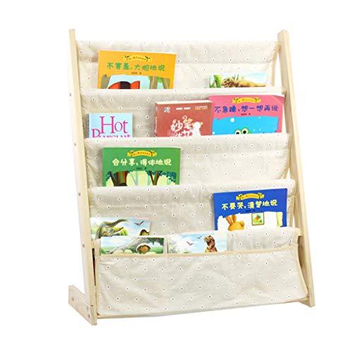 Libreria Legno di Pino Sling Bookshelf, Scaffale per Libri di Legno per Bambini Scaffali Dell'Organizzatore di Visualizzazione del Giocattolo, con Pocket (4 Stili)