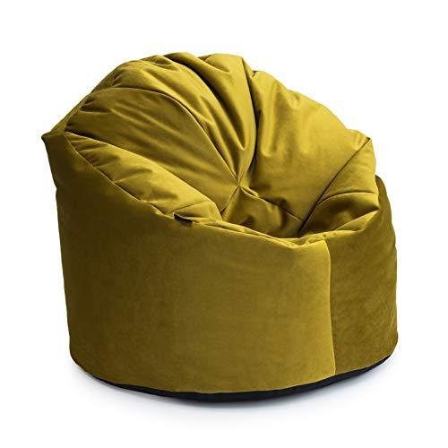 Loft 25® Luxuriöses Sitzsack St. Clair Samt klassisch Tumeric