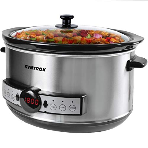 Syntrox Germany 4,5 Liter Digitaler LED Edelstahl Slow Cooker mit Timer und Warmhaltefunktion