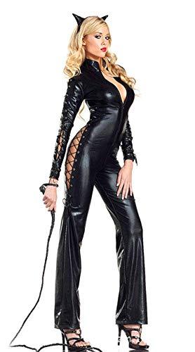 Frauen Cat Kostüm Girl - ZHANGSL Frauen Sexy Cat Girl Lackleder Conjoined, durchbrochenes Kleid Wilder Overall, Cosplay Leder Königin Uniform,XL