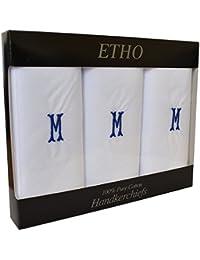 3 Paquete Hombres/Caballeros Pañuelos Blancos Bordados Iniciales Con Borde Satinado, Varias Letras