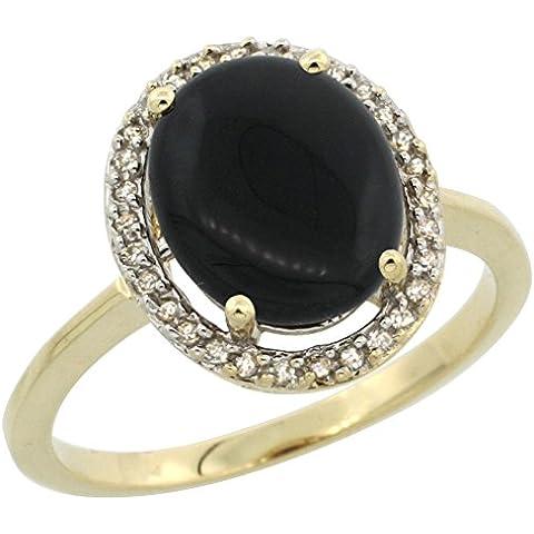 In oro giallo, 14 carati, con diamante, colore: nero naturale, Halo anello d'onice ovale, 10 x 8 mm, taglie