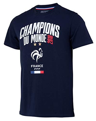 Selección de fútbol de Francia FFF–Champion del Mundo 2018–Camiseta Oficial Talla niño, Niños, Azul, 8 años