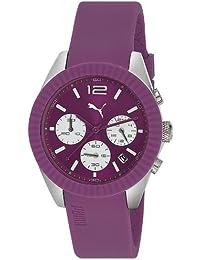 Puma Motorsport Grip Chrono Unisex Quartz Watch with Purple Dial Chronograph Display and Purple Silicone Strap PU102812004