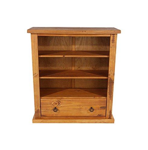 CORE Products Low breit Bücherregal mit Schublade, rustikal Honig Effekt (Bücherregal Honig)