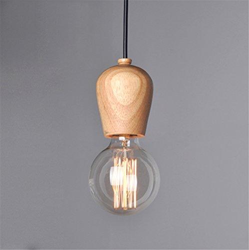 Lampe Suspension en Bois 8cm, E27 Lustre Eclairage interieur Elegant Simple Vintage Style ( sans ampoule )