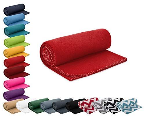 WOMETO Polar- Fleecedecke 130x160 cm ca. 400g wertiges Gewicht mit Anti-Pilling Kettelrand Farbe rot in vielen bunten Farben