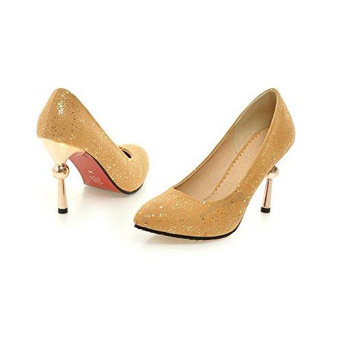 VogueZone009 Damen Pu Leder Stiletto Spitz Zehe Rein Ziehen Auf Pumps Schuhe Gelb