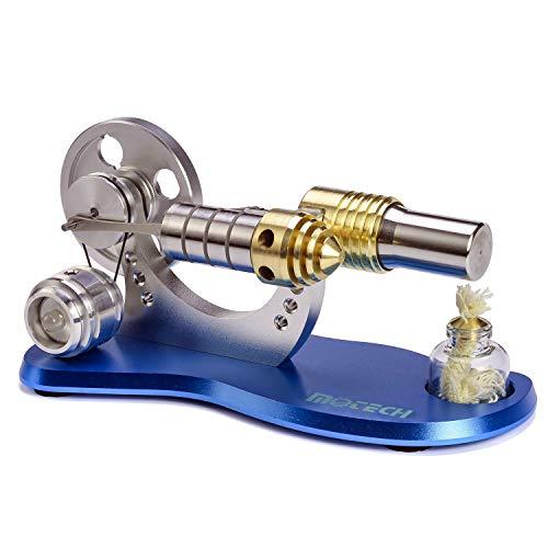 Motech Heißluft Stirlingmotor-Modell, Stirling Motor Pädagogisches Spielzeug, Stromgenerator, wissenschaftliches Modell mit 7-Farbe LED-Licht Steampunk-Stil Ornament (M163-L)