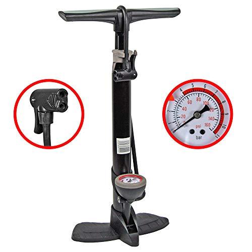 KS-Direkt Alu-Standfußpumpe mit Manometer Luftpumpe Standpumpe Fahrradpumpe Balpumpe Pumpe