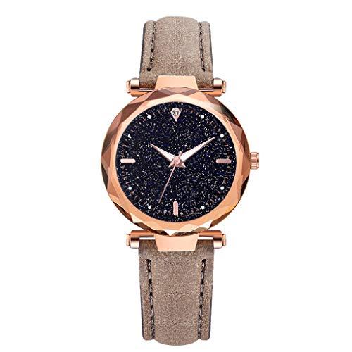 REALIKE Damen Armbanduhren Retro Einfach Nachthimmel Round Diamant Lederband Uhren Mehrfache Farben Freizeit Ultradünn Britische Artart und Weise Neue High End Geschäftsuhr Business