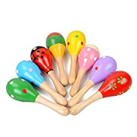 Cupcinu Wooden Baby Rattles Toddler Rattles Sand Hammer Musical Sound Toys Wooden Maracas Shakers (2pcs, 11.5cm, Random Color)