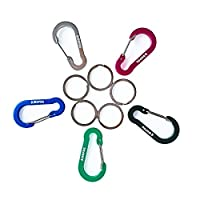 2 Inch/5cm Flat Gourd Shape Carabiner, WAPAG Strong Spring Clip Hook Biner for Keys or Other Small items, Keyring Keychain Caribiner for Daily Indoor or Outdoor Life, Rating for Hammocks Camping Hiking - 5PCS (multicolour)