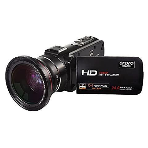 ORDRO Wifi 1080P 30FPS Full HD Camcorder with Wide Angle Lens 16X Digital Zoom 24.0MP 3.0 Inch Touch Screen with 270 Degrees Rotation Digital Video