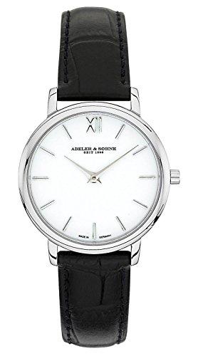 Abeler & Söhne–Made in Germany–Orologio da donna con vetro zaffiro e cinturino in pelle AS1312