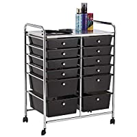 YourHome 12 Drawer Mobile Storage Salon Trolley,Home Office, Craft, Hairdressing, Beauty & Make-up Accessories Organiser with Lockable Castor Wheels (Black)