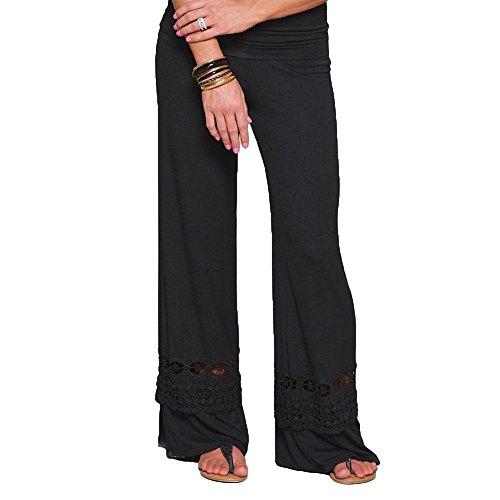 Huateng Yoga-Hose Niedrige Taille Bootcut Hose Für Frauen Spitze Hose mit Strumpfhose Patchwork Pumphose Tanzhosen S-5XL -