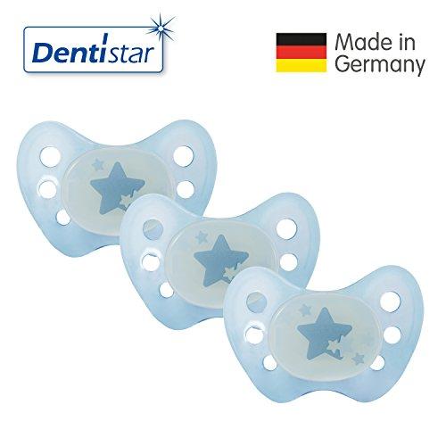 zahnfreundlich /& kiefergerecht Sterne Blau Dentistar/® Schnuller 3er Set Nuckel Silikon in Gr/ö/ße 2 6-14 Monate Beruhigungssauger f/ür Babys